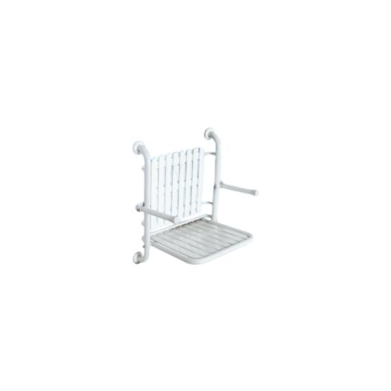 BK felhajtható zuhanyszék háttámlával és karral RM acél fehér - BK-THSSB